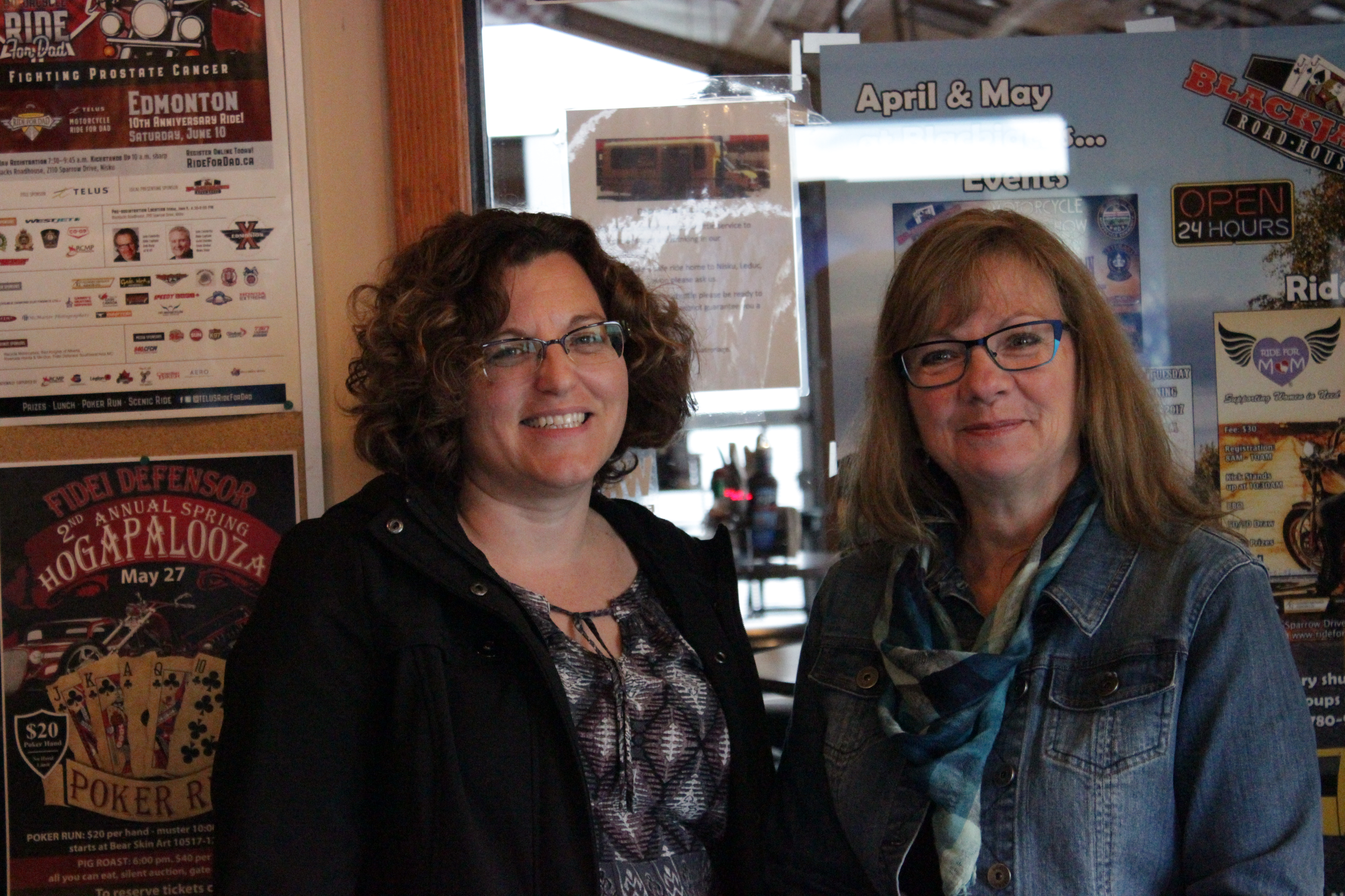 Volunteers from the Edmonton Domestic Violence Shelters Engage. Ride for Mom at Blackjacks Roadhouse & Games Room
